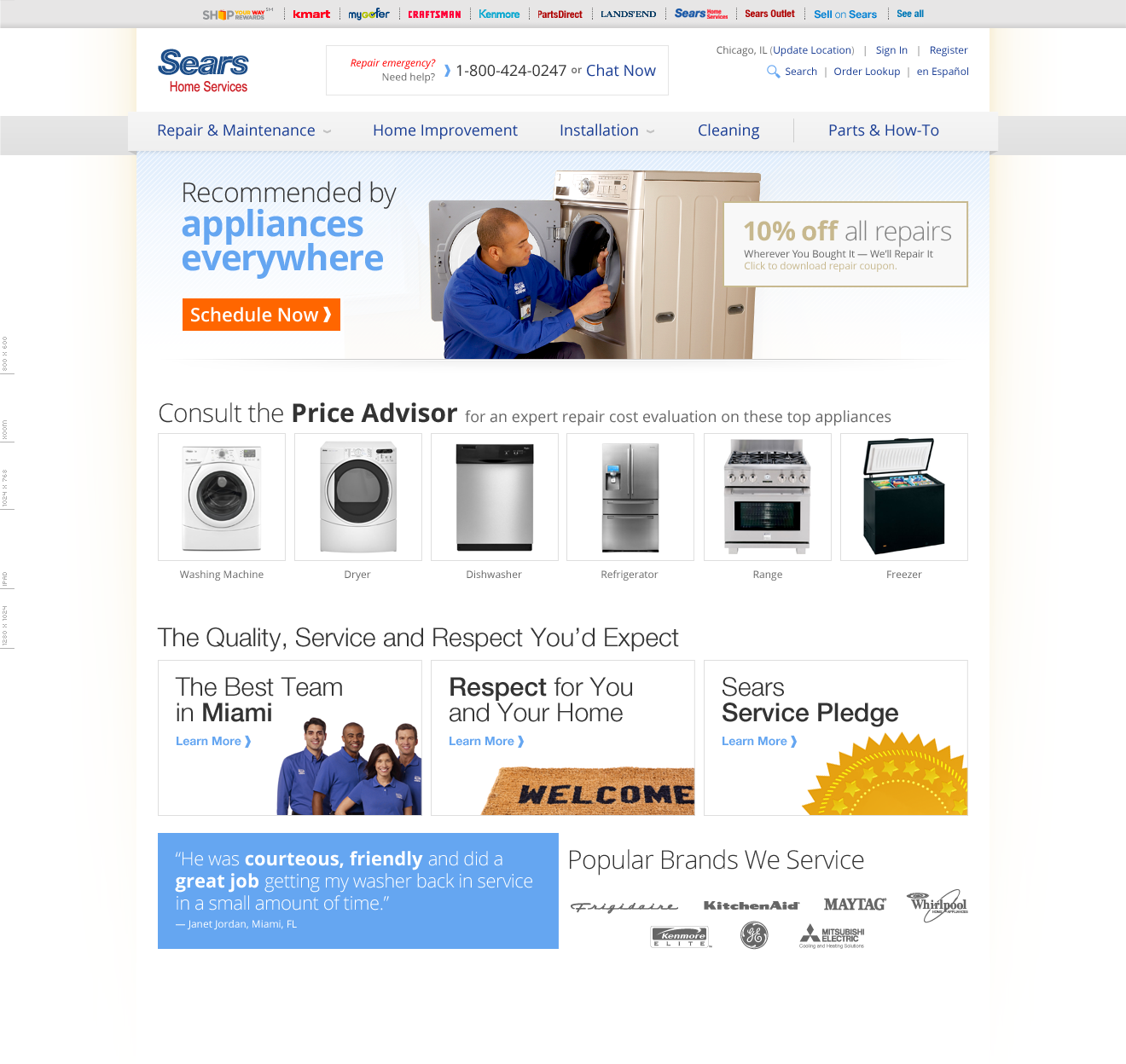 Sears Home Services Repair Landing Page