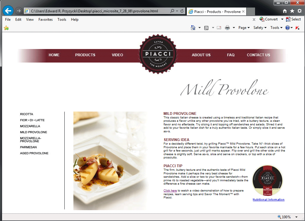 Piacci Cheese Website