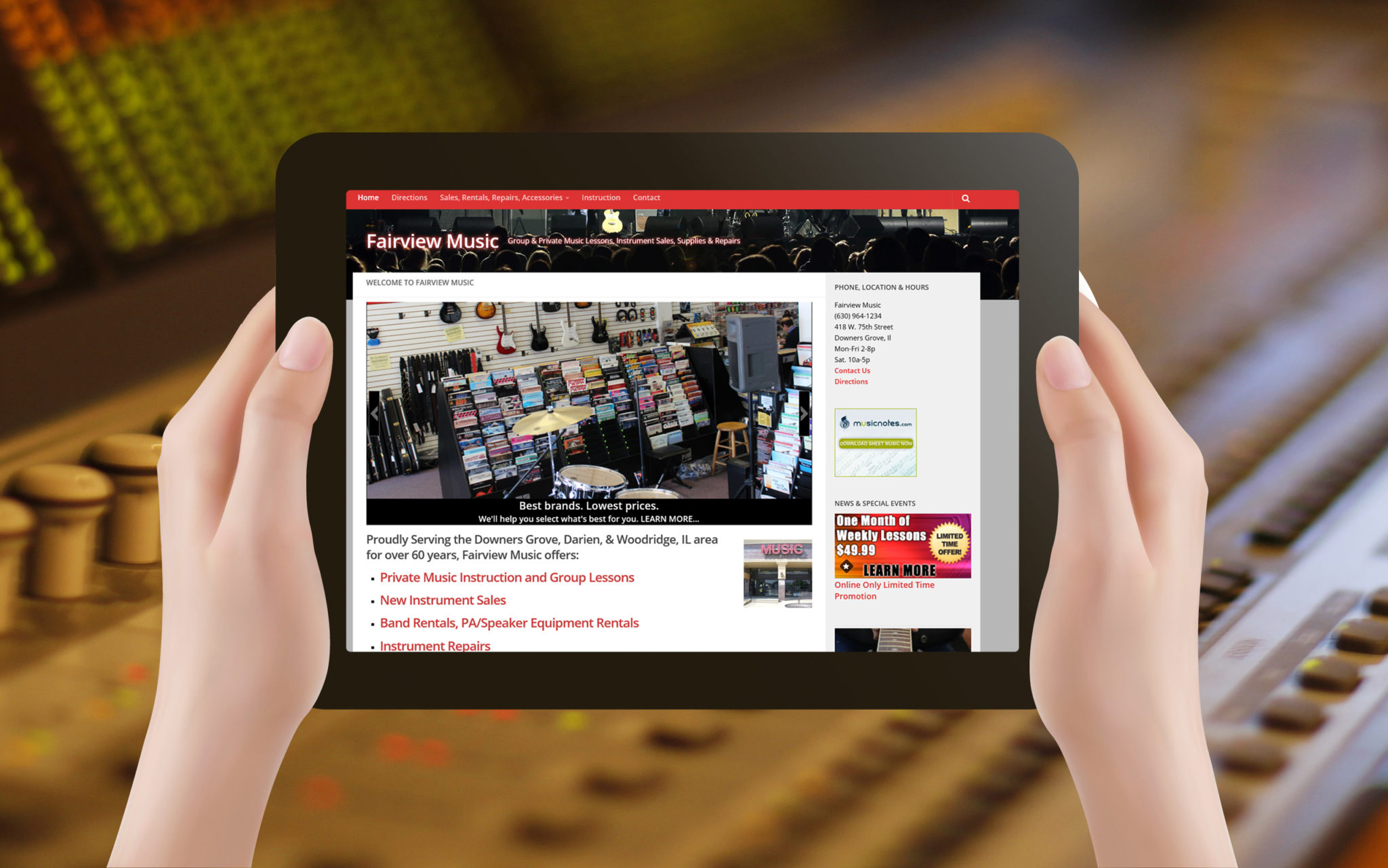 Fairview Music Website Tablet